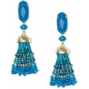 KENDRA SCOTT DOVE  STATEMENT EARRINGS TEAL AGATE